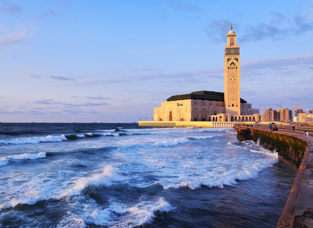 Hassan II Mosque during the sunset in Casablanca
