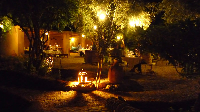 Dinning in the garden at night