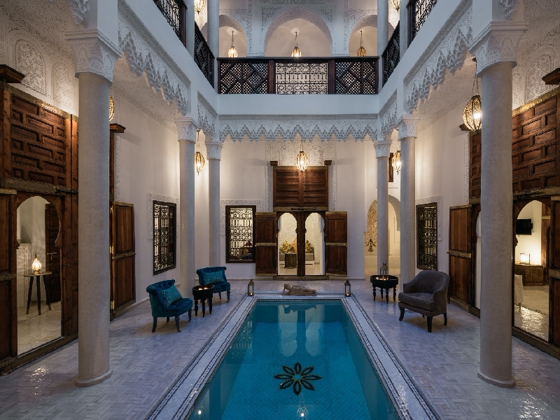 Riad Spice patio with pool