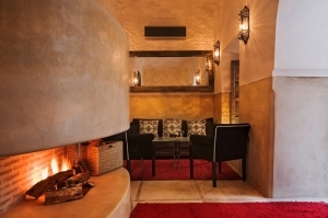 The Salon with Open Fireplace