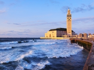 Hassan II Mosque during the suns